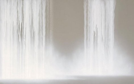 """Waterfall 2009 Fluorescent pigment on mulberry paper mounted on board 89.5 x 143.1"""""""