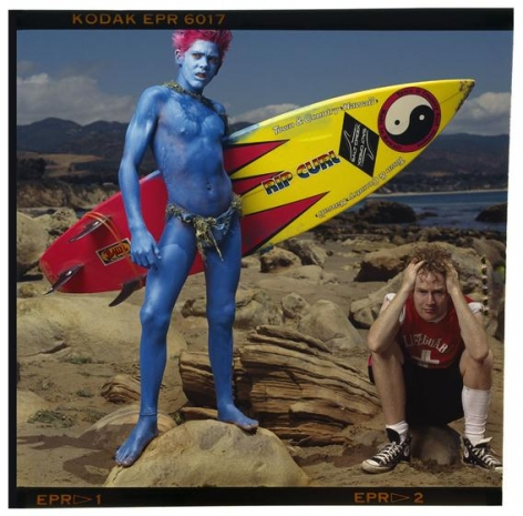 Annie Leibovitz, Malcolm McLaren and Christian Fletcher, Point Dume, California, 1985, archival pigment print, 30.5 x 30.5 inches/77.5 x 77.5 cm/ © Annie Leibovitz
