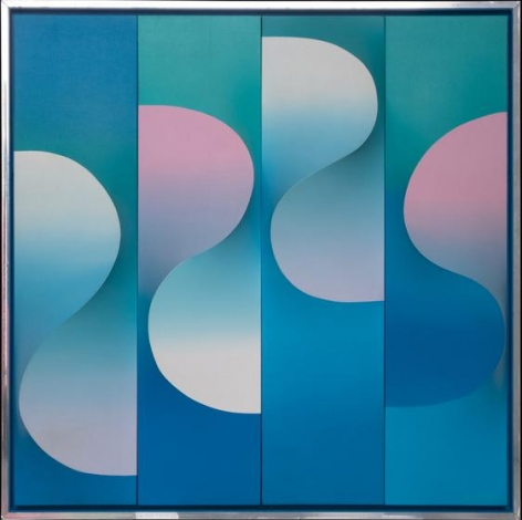 , Anthony Poon, Untitled (3D Blue Waves), undated, acrylic on canvas, 36 x 36 x 5 inches/92 x 92 x 13 cm.