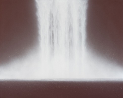 Hiroshi Senju, Waterfall, 2019, natural pigments on Japanese mulberry paper mounted on board, 51.3 x 63.8 inches/130 x 162 cm
