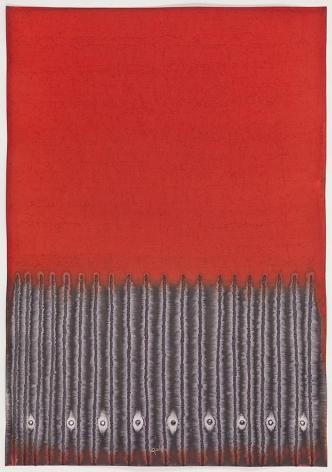 Sohan Qadri, Sumaru, 2010, ink and dye on paper, 39 x 27.5 inches