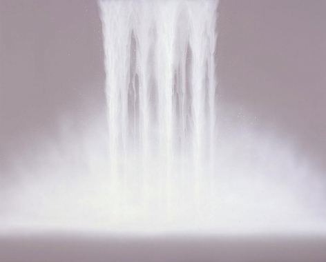 """Waterfall 2009 Fluorescent pigment on mulberry paper mounted on board 51.3 x 63.8"""""""