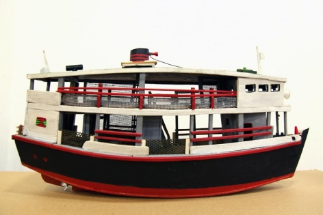 Aung Ko, The Spirit of the River, 2015, mixed-media model boat, 9.4 x 18.9 x 5.9 inches/24 x 48 x 15 cm, part of a video and mixed-media installation with Nge Lay