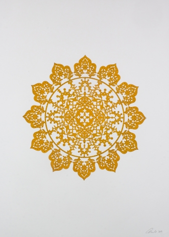 Anila Quayyum Agha, Flowers (Mustard Yellow), 2017, mixed media on paper (encaustic mustard yellow flower with gold beading), 30 x 22 inches/76.2 x 55.9 cm