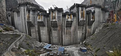 , Edward Burtynsky, Xiluodu Dam #5, Yangtze River, Yunnan Province, China, 2011, Chromogenic color print, 44 x 96 inches