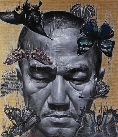 , Chatchai Puipia, Life in the City of Angels: The Night Traveler, 2014, oil and pigments on canvas, 72.8 x 64.9 inches/185 x 165 cm