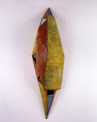 Moon River Buddhi,  2006, Pure color pigment on galvanized steel, 92 x 26 x 18.5""