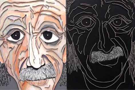 Double Einstein, 2013, acrylic and wood on canvas, 40 x 60 inches