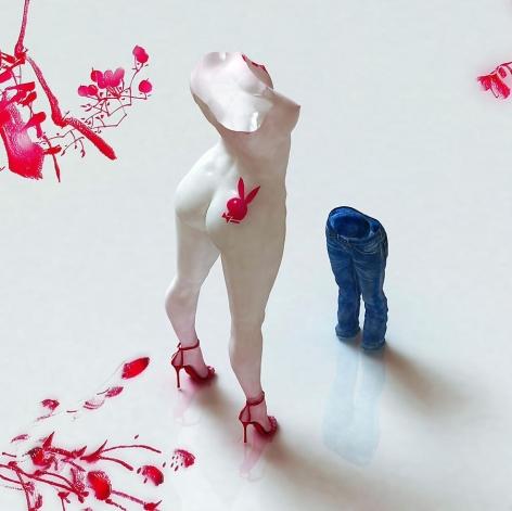 Blue Jean Blues-Playboy, 2012, digital print, 39.4 x 39.4 inches