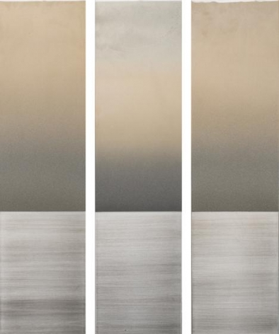 , Faint Gold Gray Triptych, 2016, pigment, urethane and resin on aluminum, 48 x 38 inches/122 x 96.75 cm