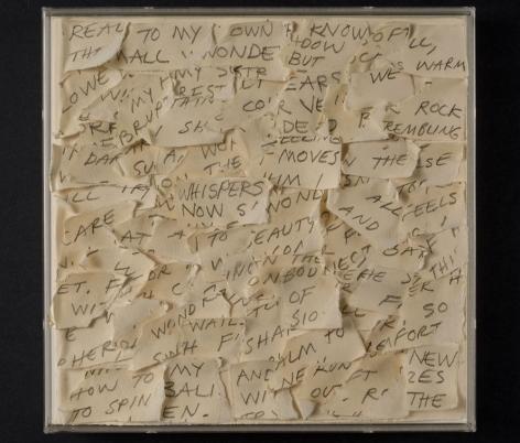 Secrets, 1949, pencil, torn paper, collage, 10.5 x 10.5 inches/26.7 x 26.7 cm