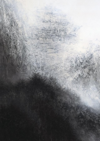 Cliff, 2012, natural and acrylic pigment on Japanese mulberry paper, 89.5 x 63.8 inches