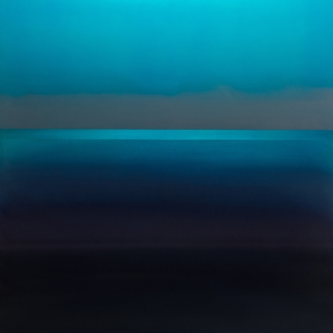 , Indigo Line, 2015, pigment and urethane on aluminum, 48 x 48 inches/122 x 122 cm