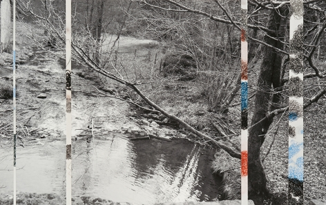 Ardennes Uncovered: Loss, 2014, one photograph, four drawings, 13.1x 20.75 inches/33.4 x 52.7 cm