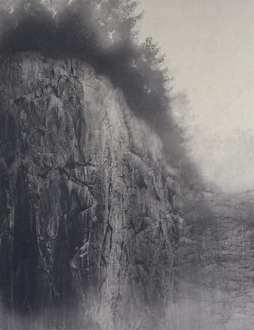 Hiroshi Senju, Cliff, 2009, Natural pigments on Japanese mulberry paper, 145.5x112.1cm