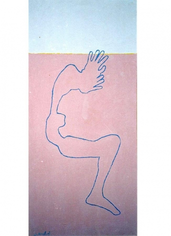 """Ayman El Semary, The Body is Suffering, 2003, Acrylic, prayton, natural oxides on canvas, 70.9 x 32.3"""""""