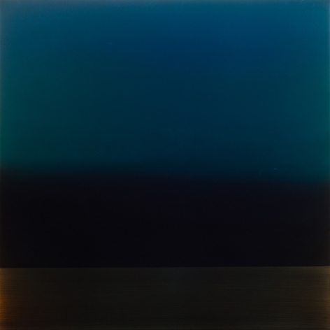 Yūgen blue bronze, 2016, pigment, urethane and resin on aluminum, 36 x 36 inches/91.4 x 91.4 cm