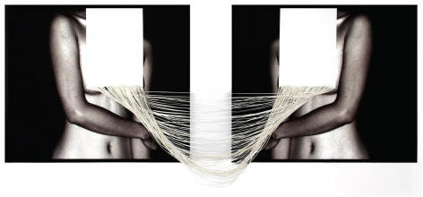 Tension, 2015, c-type print and hand cut canvas,36.5x 97.1inches/92.7 x 246.7 cm