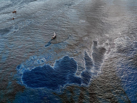 Edward Burtynsky, Oil Spill #4, Oil skimming Boat, Near Ground Zero, Gulf of Mexico, 2010, Chromogenic color print, 39 x 52""