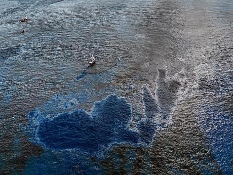 "Edward Burtynsky, Oil Spill #4, Oil skimming Boat, Near Ground Zero, Gulf of Mexico, 2010, Chromogenic color print, 39 x 52"""