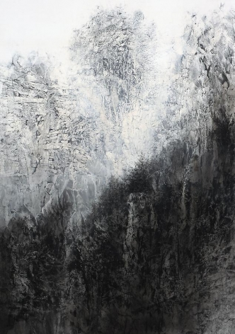Cliff, 2012, natural and acrylic pigment on Japanese mulberry paper, 102 x 71.6 inches