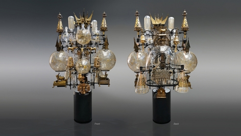 The Immanent Transcendental,2017–2020, assemblage sculpture with laboratory tubes, flasks and beakers (some etched with Hebrew text from Exodus and the Medieval scholar Rashi's writings, in-filled with 23-karat gold); antique glass dome; antique Torah scroll finials; bronze, brass and metal icons with tubular lights and an illuminated steel base, 70 x 45 x 38 inches/177.8 x 114.3 x 96.5 cm