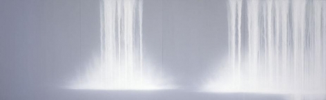 """Waterfall 2009 Fluorescent pigment on mulberry paper mounted on board 89.5 x 286.74"""""""