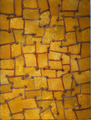 Rujistan Yellow, 2006, Pure color pigment on galvanized steel, 48 x 36""