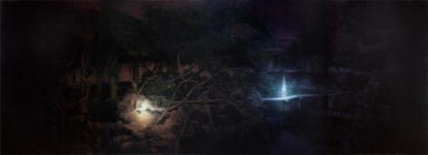 Yang Xun, Peony Pavilion - Lounge Bridge in Purple Night, 2011, oil on canvas, 78.7 x 220.5 inches/200 x 560 cm
