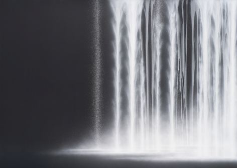 Waterfall, 2020, natural pigments on Japanese mulberry paper mounted on board, 63.8 x 89.5 inches/162 x 227 cm