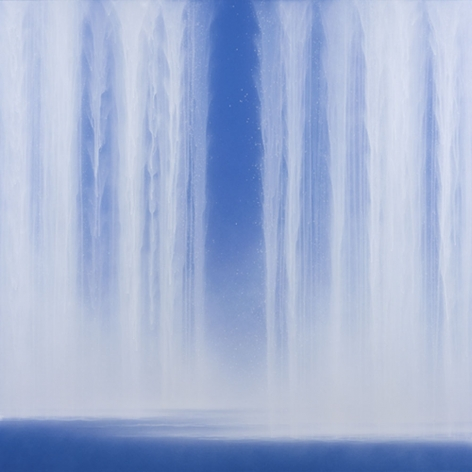 Waterfall (Blue), 2010, acrylic pigment on mulberry paper mounted on board, 46 x 46 inches/116.8 x 116.8 cm