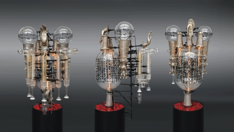 What's in the Rose?2017, assemblage sculpture with antique silver icons and cuffs from India, antique Torah finials, fabric, vintage laboratory tubes, flasks and beakers etched with text from the Book of Genesis in Hebrew, tubular lights, steel base, 45 x 24 x 22 inches/114.3 x 61 x 55.9 cm