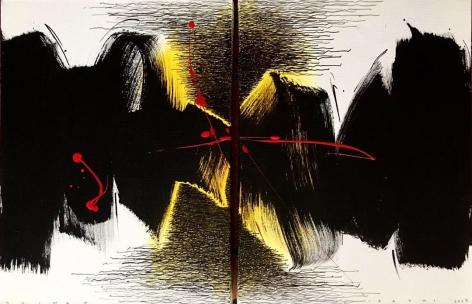 Golnaz Fathi:untitled, 2017, acrylic, pen and varnish on canvas, 15.75 x 23.6 inches/40 x 60 cm