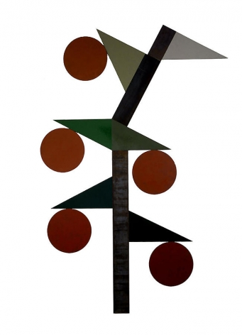 "Merrill Wagner,  Japanese Lantern , 2006, Rust preventative paint on steel, 106 x 71"""