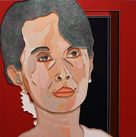 Aung San Suu Kyi, 2007, Acrylic and wood on canvas, 50 x 50""