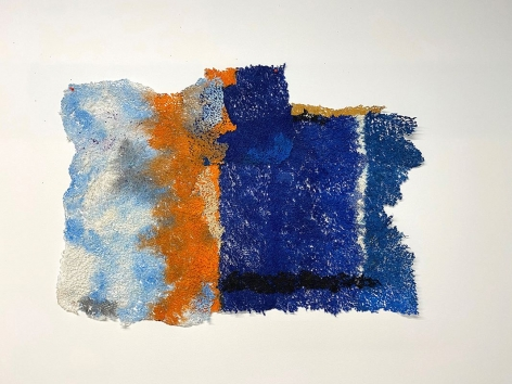 Seam of Hope, 2019-2020, plucked Japanese handmade paper, acrylic paint, thread, 28.5 x 40 inches/72.4 x 101.6 cm