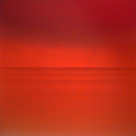 Miya Ando, Ephemeral Deep Red, 2014, dye, pigment, lacquer, resin on aluminum, 36 x 36 inches/91.4 x 91.4 cm