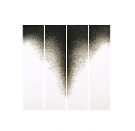 Golnaz Fathi, untitled, 2011, pen and varnish on canvas, 70.9 x 17.7 inches each, 70.9 x 70.9 inches/180 x 45 cm each, 180 x 180 cm