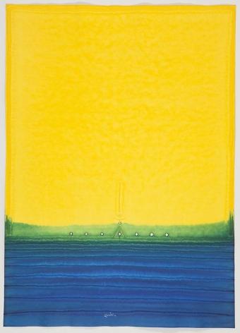 Sohan Qadri, Avici III, 2010, Ink and dye on paper, 55 x 39 inches