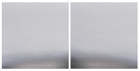 Miya Ando,Hamon Diptych 1, 2016, pigment and urethane on aluminum,48 x 96 inches/122 x 244 cm