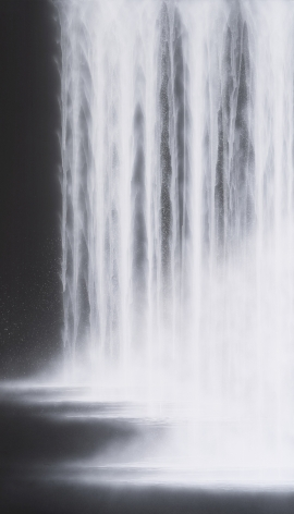 Waterfall, 2020, natural pigments on Japanese mulberry paper mounted on board, 76.3 x 44.1 inches/194 x 112 cm