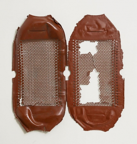 Untitled, 2012, rust preventive paint on steel, 18.5 x 17.5 inches