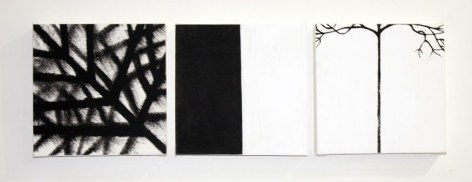 Three, 2012, mixed media on canvas, 12 x 38.5 inches/30.5 x 97.8 cm