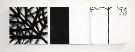 Three, 2012, mixed media on canvas, 12 x 38.5 inches/30.5 x 97.8cm