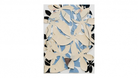 Leaves Figure, 1998, acrylic on cut paper in glass frame, 30 x 22 inches/76.2 x 55.9 cm