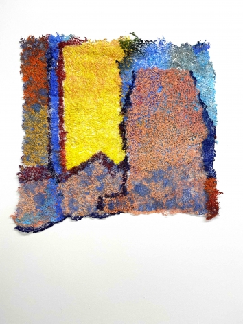It Matters, 2020, plucked Japanese handmade paper, acrylic paint, thread, 23 x 26 inches/58.4 x 66 cm