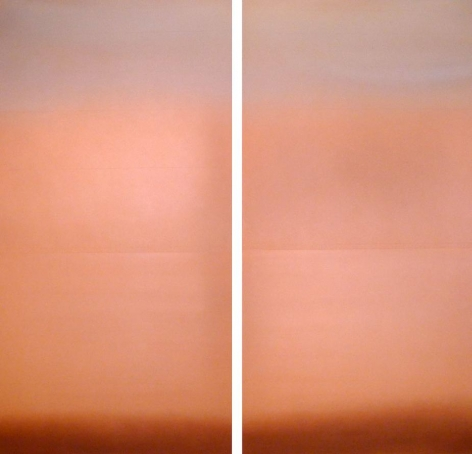 Akagane Copper 2, 2013, patina, pigment, copper on wood panel, 23.75 x 47.75 inches each