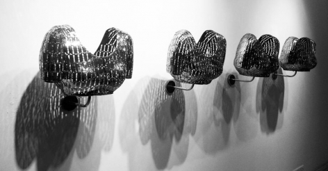 Womanhood 2, 2015, stainless steel razor blades, 17.7 x 13.7 x 15.75 inches/45 x 35 x 40 cm