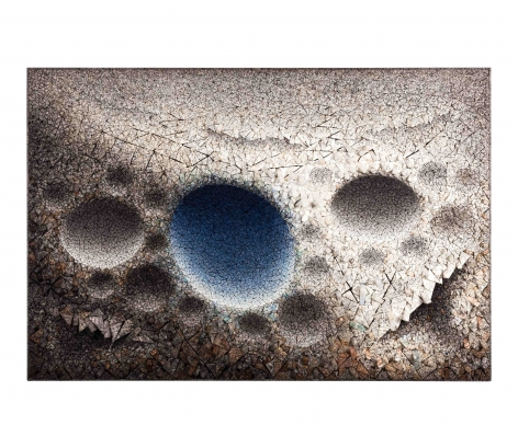 Aggregation 10 - OC036 Blue,2010, mixed media with Korean mulberry paper, 52 x 76.8 inches/132 x 195 cm
