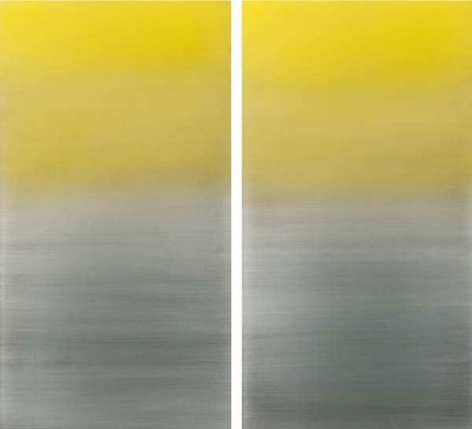 Miya Ando, Gold Diptych, 2015, urethane and pigment on aluminum, 48 x 48 inches/122 x 122 cm